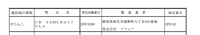 SAMURAI7の甘デジスペックが検定通過確認