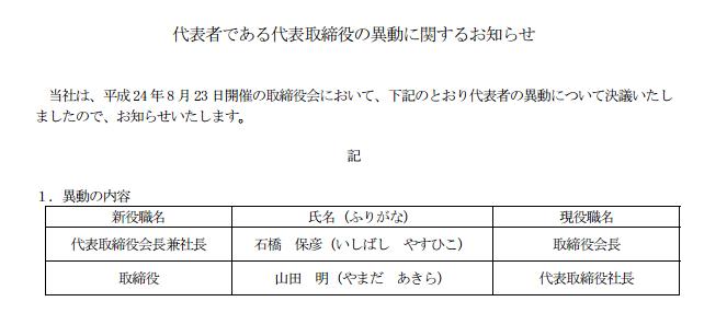 日本ゲームカード 代表取締役の異動に関するお知らせを掲載