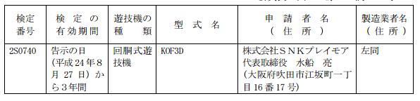 SNKプレイモア新機種スロットが検定通過 KOF3D