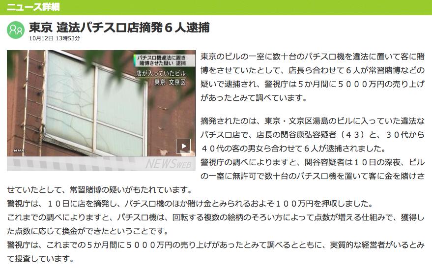 東京で違法パチスロ店が摘発 各メディアで取り上げられる