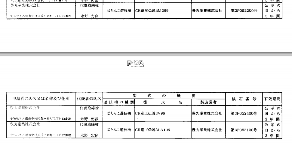 CR竜王伝説3シリーズ新たに3機種通過 合計4シリーズに