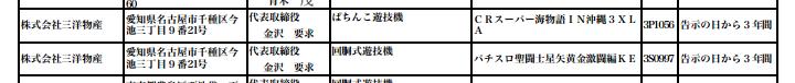 沖縄3の別スペック(多分マックス)とパチスロ聖闘士星矢黄金激闘編が検定通過