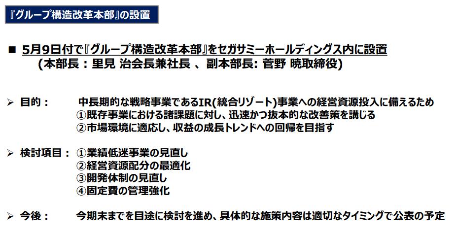 セガサミー5月9日付で『グループ構造改革本部』を設置/里見会長が中心