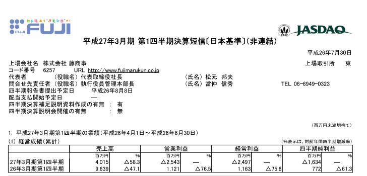 藤商事さん決算短信は減収減益/営業利益は約25億4000万円の損失に
