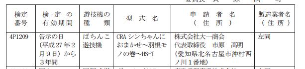 羽根モノ「シンちゃんにおまかせ」検定通過/大一さんから3月リリース予定