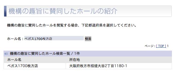 ベガス1700枚方店(大阪府枚方エリア)の新規登録を確認/長野ベガス1200に続く
