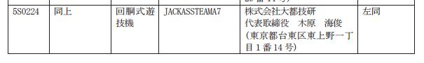 大都さんから久々の新機種パチスロ検定通過/「JACKASSTEAMA7」確認