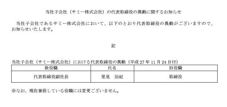 株式会社サミー代表取締役の異動を発表/里見治紀氏が副社長に就任