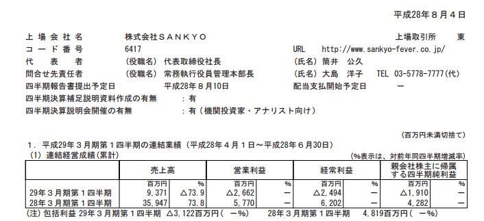 三共 決算発表は大幅な減収減益/伊勢志摩サミット入替自粛影響が響く