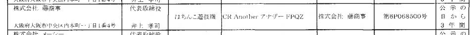 藤商事「Another アナザー」検定通過/映画化ドラマ化もされているホラー系の版権