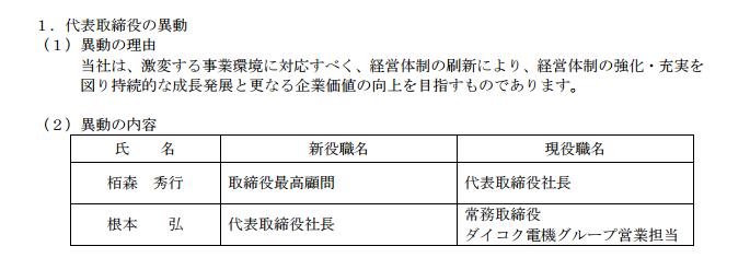 ダイコク電機 社長交代/2017年4月1日〜新社長は現常務取締役根本氏が就任