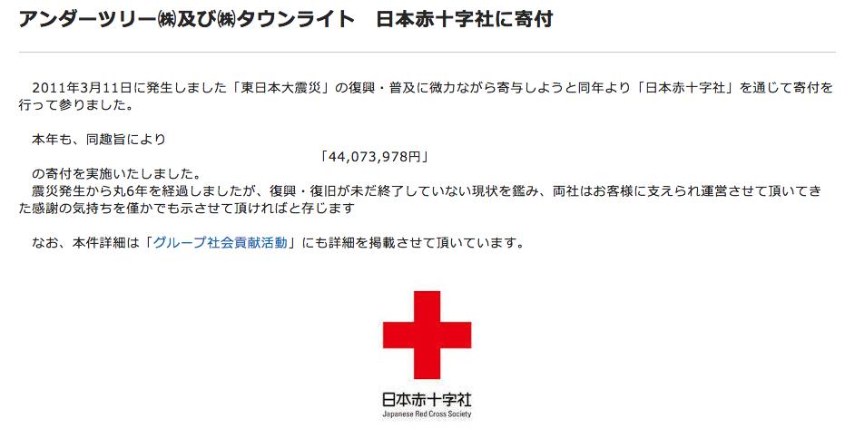 アンダーツリー㈱及び㈱タウンライト 日本赤十字社に4407万3978円の寄付を実施